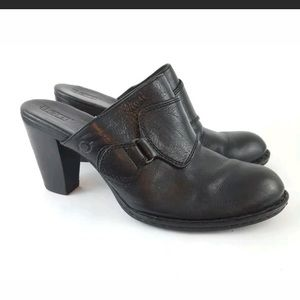 Born Heeled Mules Black Leather Monk Strap 10M